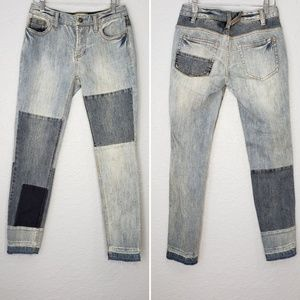 Free People Patched & Relaxed Skinny Jeans Size 26
